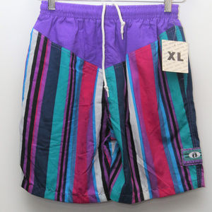 "90's Vintage ""HANG TEN"" Color Block Swim Trunks"